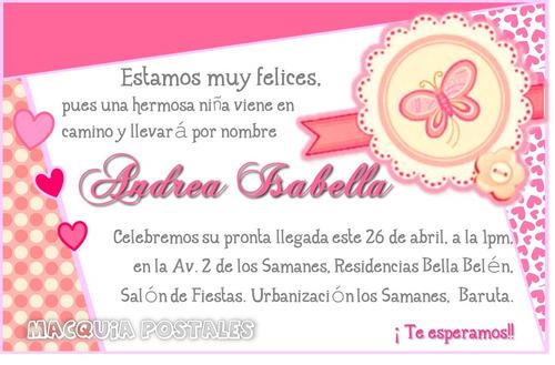 Invitaciones Tipo Postal - Baby Shower Niña/o Y Gemelos 14x9 - Bs ...