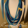 Collar Mediano Cordon Algodon Azul Con Blanco - Mostaza