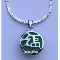 Dije Jade Mini Símbolo Fu 1,8 Cm + Cadena Fantasía