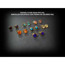 Zarcillos Moda Redondos De Goldfield Con Piedra En El Centro