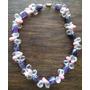 Collar De Perlas Rosadas, Cristales Blancos Y Cuarzo Violeta