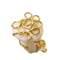 Anillo Gold Filled Piedra De Coral Blanco