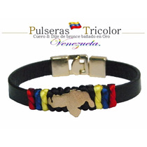 Pulsera Tricolor Unisex / Dije Mapa De Venezuela Baño De Oro
