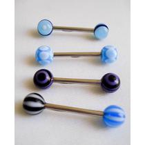 7 Piercings Para Lengua Acero Inoxidable Y Esferas Plasticas