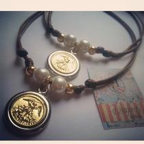 Collar Cuero San Miguel Arcangel Baño De Oro Bisuteria Moda