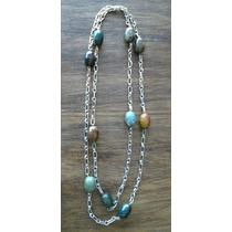 Collar Largo De Cadena Con Piedras Tipo Jade Colores Tierra