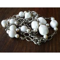 Collar Largo Cadena Con Perlas Cultivadas, Piedras Blancas