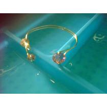 Pulsera Brazalete De Oro Laminado Piedras Y Cristales