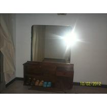 Peinadora Antigua En Caoba Con Espejo Grande