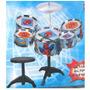 Bateria Musical Spiderman Para Niños 5 Tambores + Banquito