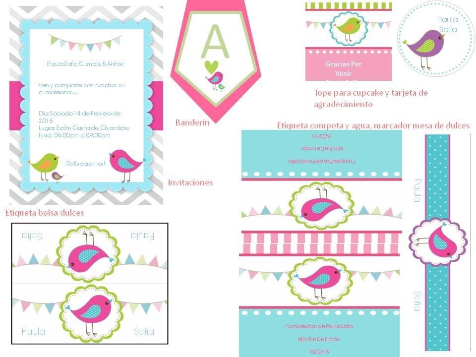 kit imprimible de pajaritos para cumplea os y baby shower bs 200