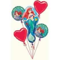 Bouquet De Globos Metalizados Princesa Ariel Sirenita Disney