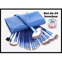 Set De 24 Brochas Azules De Maquillaje Profesional Con Manta