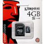 Memoria Microsd 4gb Kingston Con Adaptador Sd