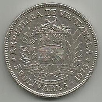 Moneda 5 Bolívares 1973 Fuerte De Níquel