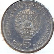 Moneda 5 Bolivares 1987.