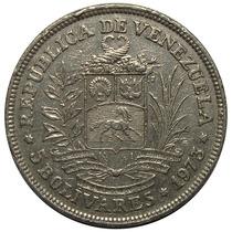 Moneda Venezuela 5 Bolívares 1973 - Primer Fuerte De Níquel