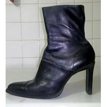 Botas De Tacón Puntiagudas Negras De Cuero Talla 38