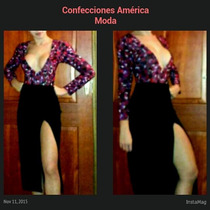 Conjunto Casual Falda Larga Y Body Con Escote Tipo Coctel