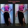 Conjunto Elegante Falda Alta Con Abertura Y Blusa Crotop
