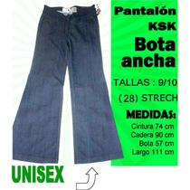 Pantalon Bota Ancha Ksk Jeans Corte Alto Talla 9/10 Strech