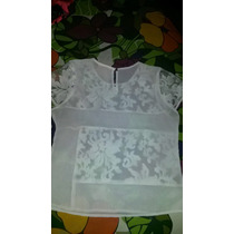 Blusa Blanca Transparente Talla Única Nueva