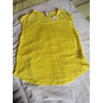 Camisa Amarilla Con Encaje. Forever 21. Talla S