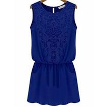 Vestido Chiffon Con Encaje Y Bolsillos, Medium Azul