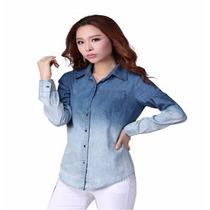 Camisa Blue Jeans Blusa Ropa Manga Larga Para Dama Talla M