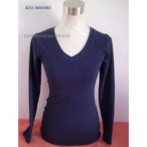 Sweaters Franelas Manga Larga Unicolores Algodón Cotton Sml