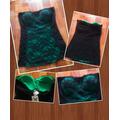 Hermosa Blusa Strapless Color Verde Y Negro Encaje Talla M