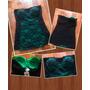 Hermoso Strapless Color Verde Y Negro Encaje Talla M Nuevo