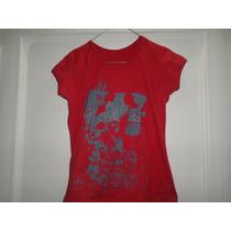 Blusa Roja Con Estampado Gris. Material Cotton. Talla L.