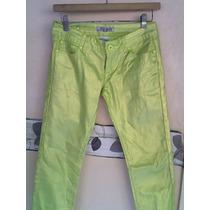Pantalón De Dama Nuevo Verde Limón Stres Satinado