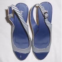 Sandalias Zapatos Plataforma Importados Azul Rayas Nuevos