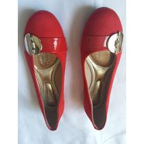 Sandalias Color Roja Talla 37 Hechas En Brasil. Nuevas