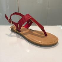 Sandalia Bajita Color Rojo Importada Para Damas Hellas