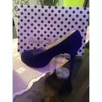 Zapatos De Dama Azul Rey Y Negros Talla 36