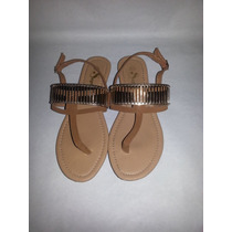 Sandalias Para Damas Bajitas Color Marrón Claro