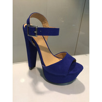 Sandalia Azul Cobalto De Tacón Y Plataforma Importada P Dama