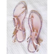 Sandalias De Tela Tipo Piel De Durazno Y Apliques Talla 38