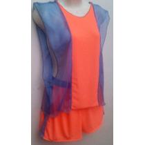 Conjunto Playero De Camiseta Y Short Naranja Y Azul