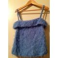 Blusa De Moda Textil Importado Hilado Y Flecos Celeste