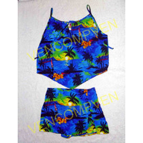 Conjunto De Playa Caribeño Tela Suave Fresca Confortable