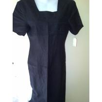 Hermoso Vestido Vintage En Lino Negro