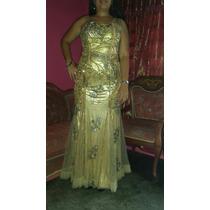 Muy Elegante Vestido De Gala Color Oro Dorado Largo Y Hermos