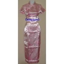 Vestido Chino Rosado - Unicamente Talla L , Xl 1 2