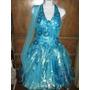 Vestido De Fiesta Azul Con Dorado
