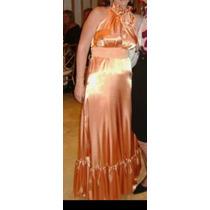 Vestido De Gala Fiesta Color Melocotón Talla 12