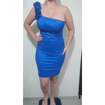 Vestido Tipo Cocktail Color Azul Talla M